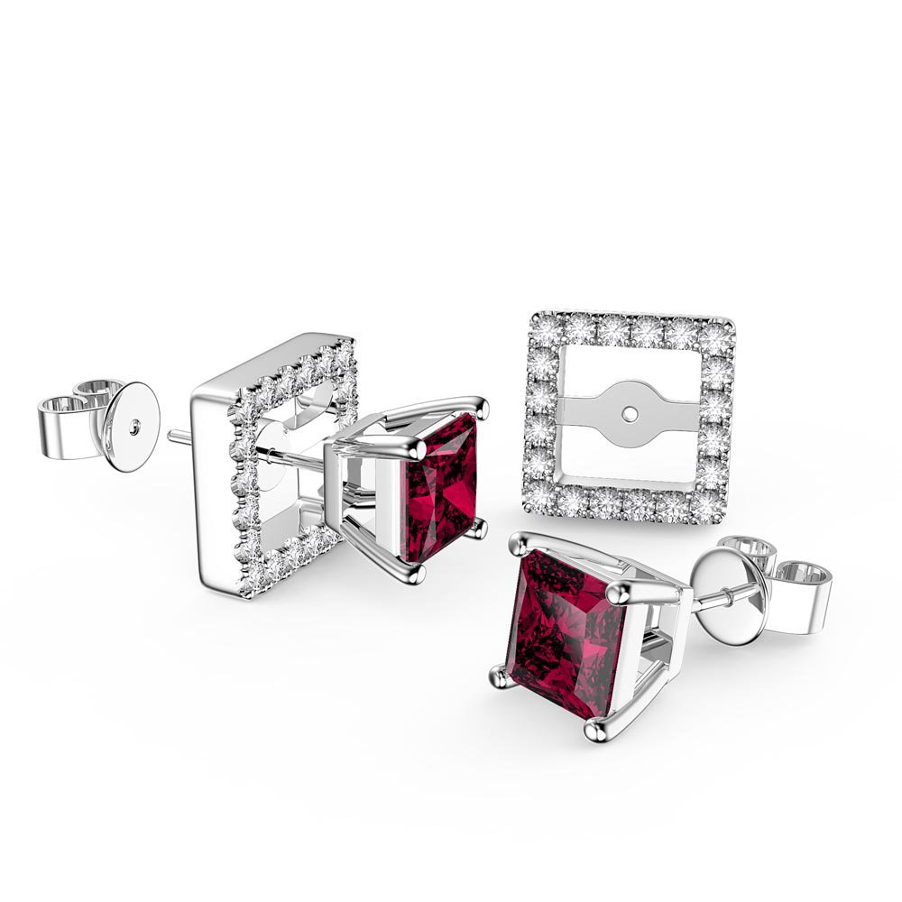 Charmisma Princess Ruby and Moissanite 18K White Gold Stud Earrings Halo Jacket Set