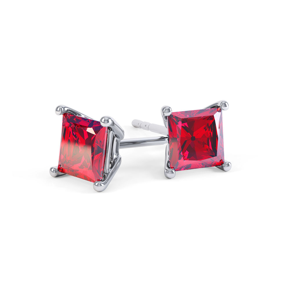 Charmisma 1ct Ruby Princess Platinum Plated Silver Stud Earrings