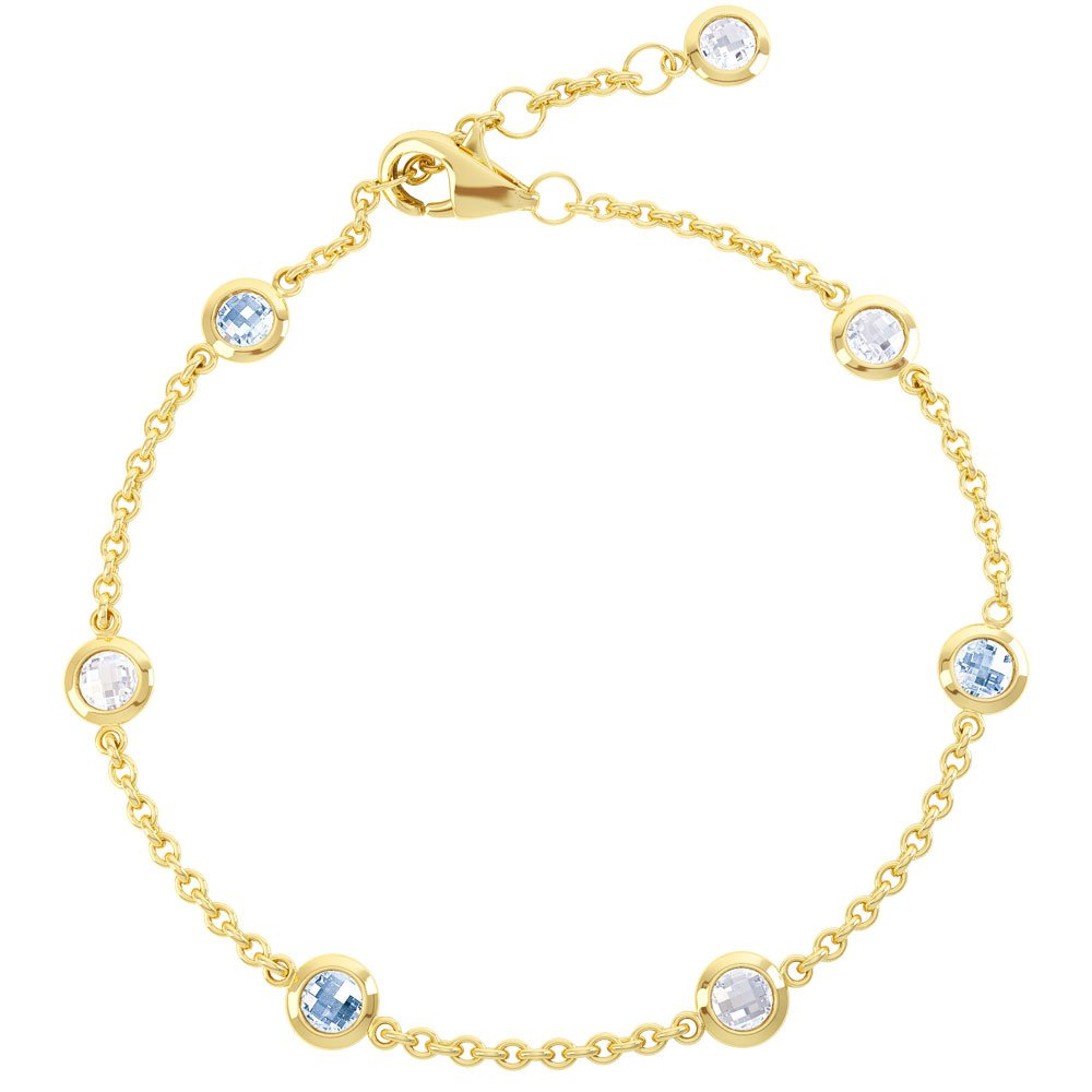 By The Yard Aquamarine 18ct Yellow Gold Bracelet