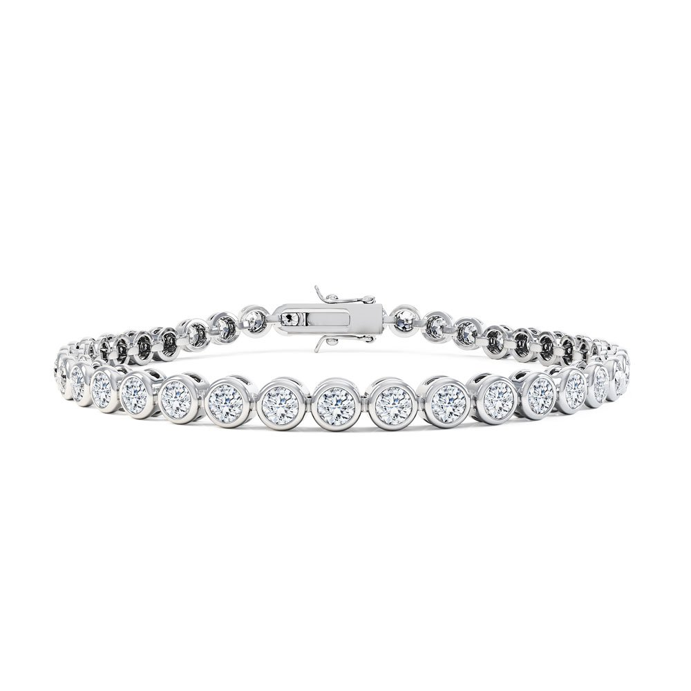 Infinity White Sapphire Platinum plated Silver Tennis Bracelet