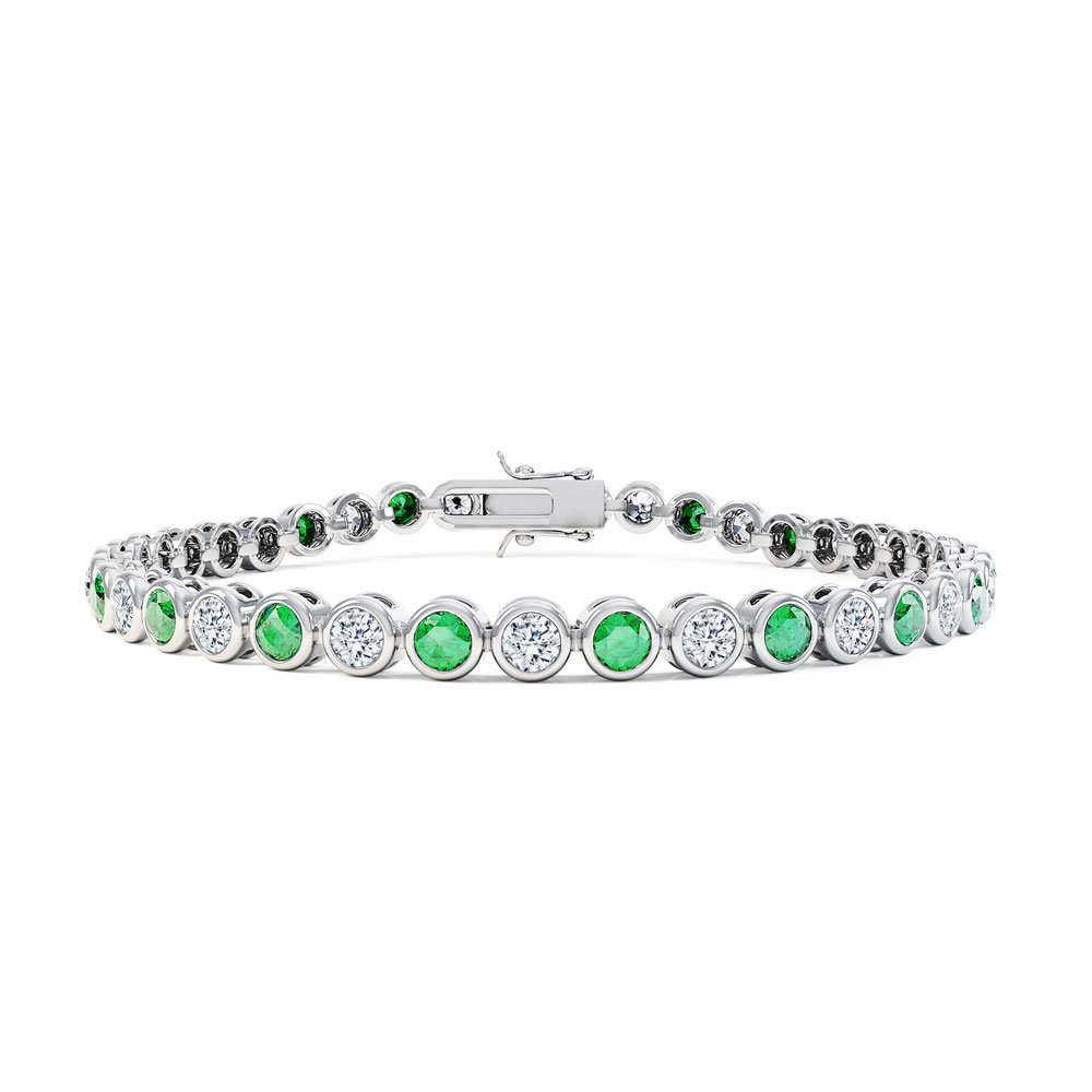 Infinity Emerald Platinum  plated Silver Tennis Bracelet