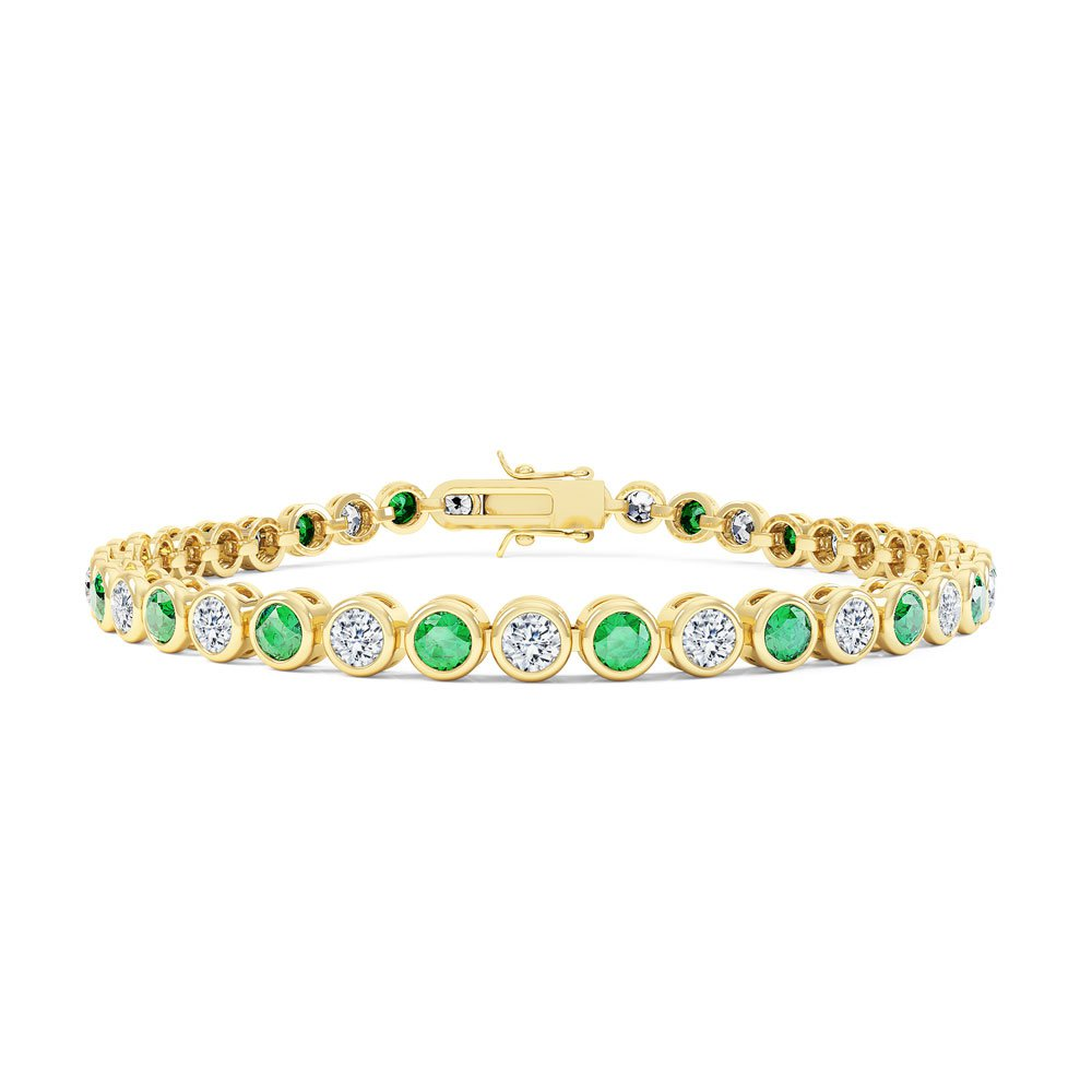 Infinity Emerald CZ 18ct Gold finished Tennis Bracelet