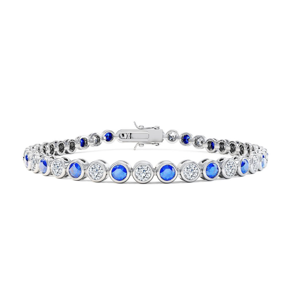 Infinity Sapphire Platinum plated Silver Tennis Bracelet