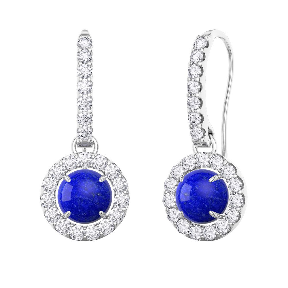 Halo Lapis Platinum plated Silver Pave Drop Earrings