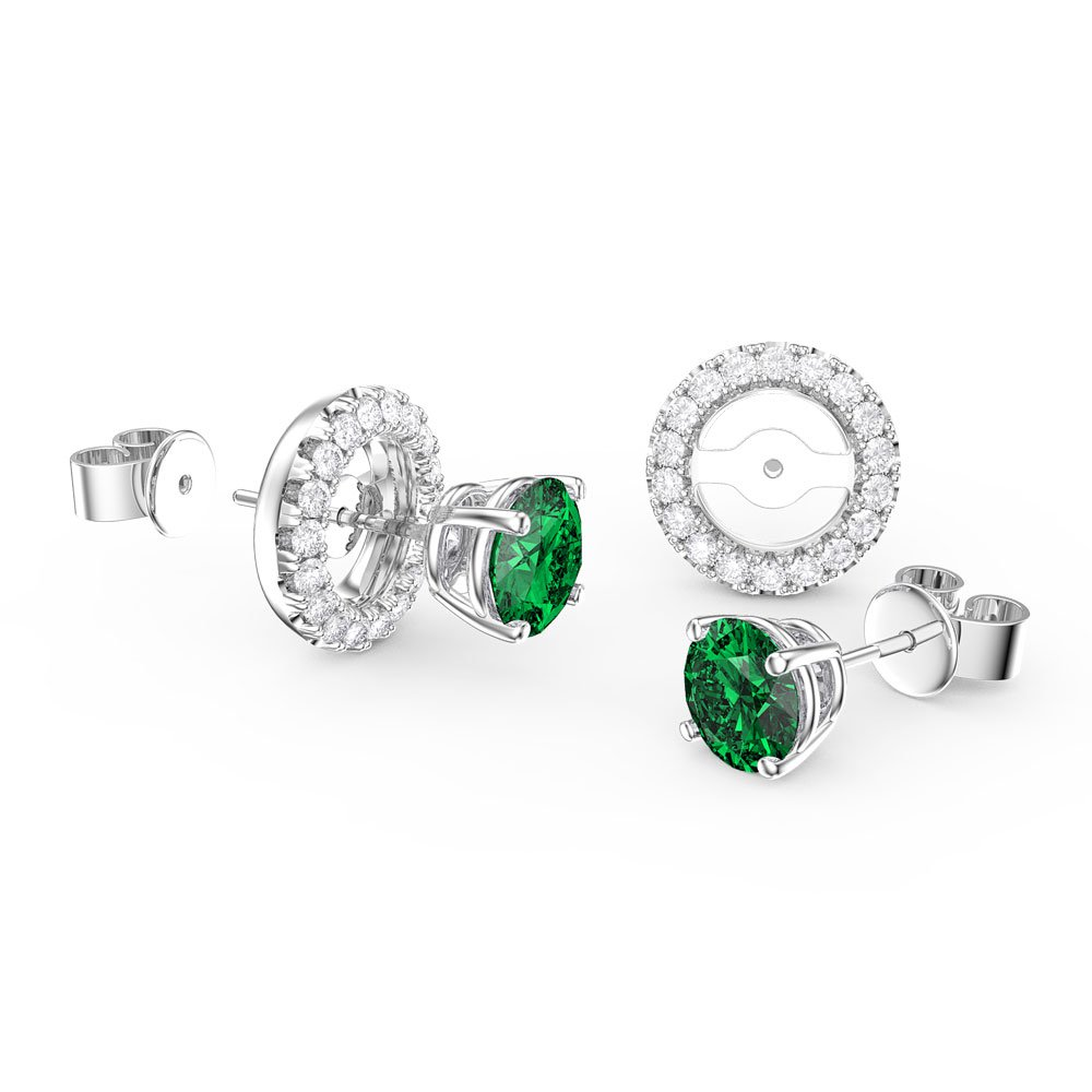 Fusion Emerald And Diamonds 18ct White Gold Stud Earrings Halo Jacket Set