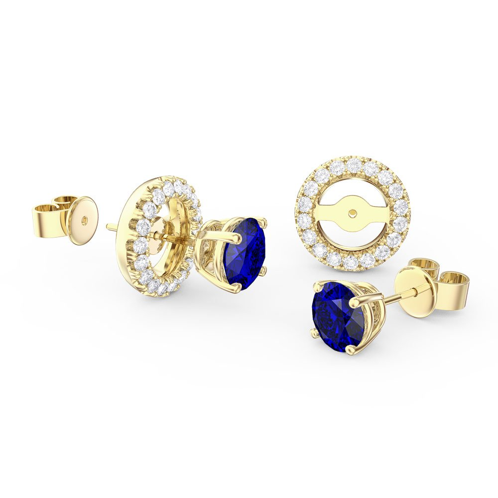 Fusion Sapphire 18ct Gold Vermeil Stud Earrings Halo Jacket Set