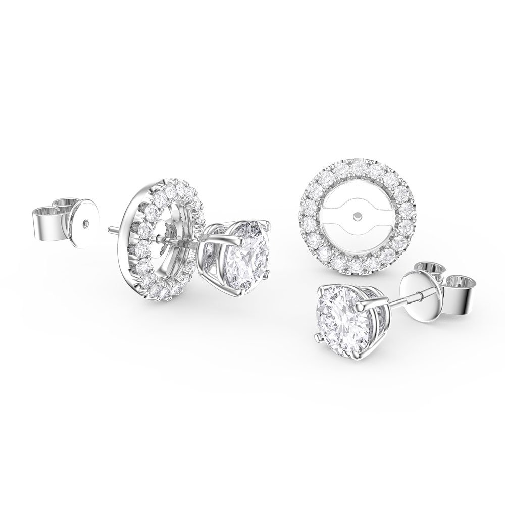 Fusion Moissanite 18K White Gold Stud Earrings Halo Jacket Set
