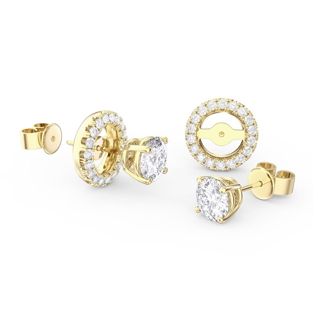 Fusion White Shire 18ct Yellow Gold Stud Earrings Halo Jacket Set