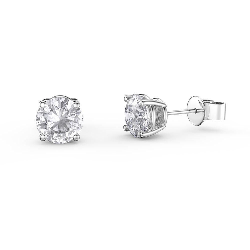 Charmisma 1ct White Shire Platinum Plated Silver Stud Earrings
