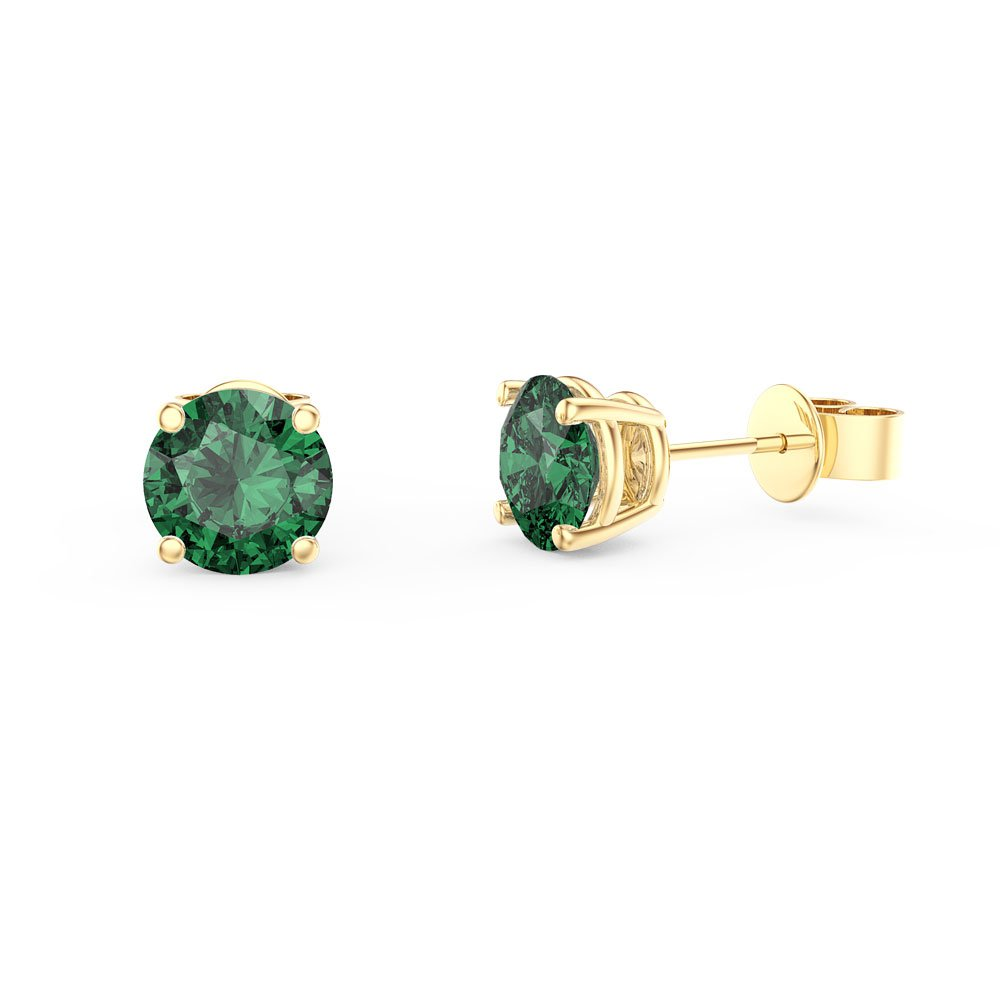 Charmisma 1ct Emerald 18ct Gold Vermeil Stud Earrings