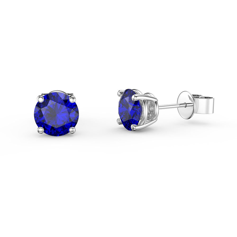 Charmisma 1ct Sapphire Platinum Plated Silver Stud Earrings