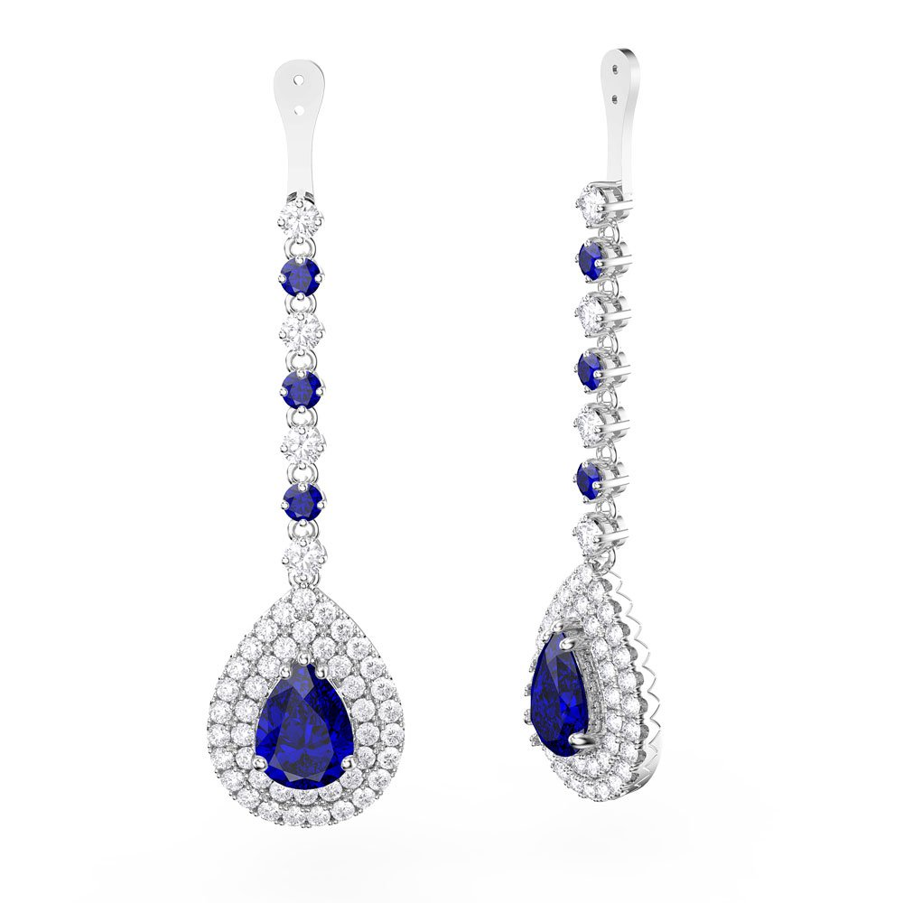 Fusion Shire And Diamond Pear Halo 18ct White Gold Earring Drops