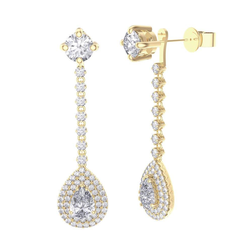 Fusion 3 57ct Diamond Pear Halo 18ct Yellow Gold Stud Drop Earrings Set