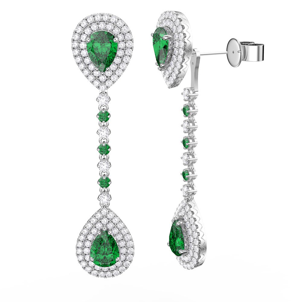 Fusion Emerald And Diamond Pear Halo 18ct White Gold Stud Drop Earrings Set