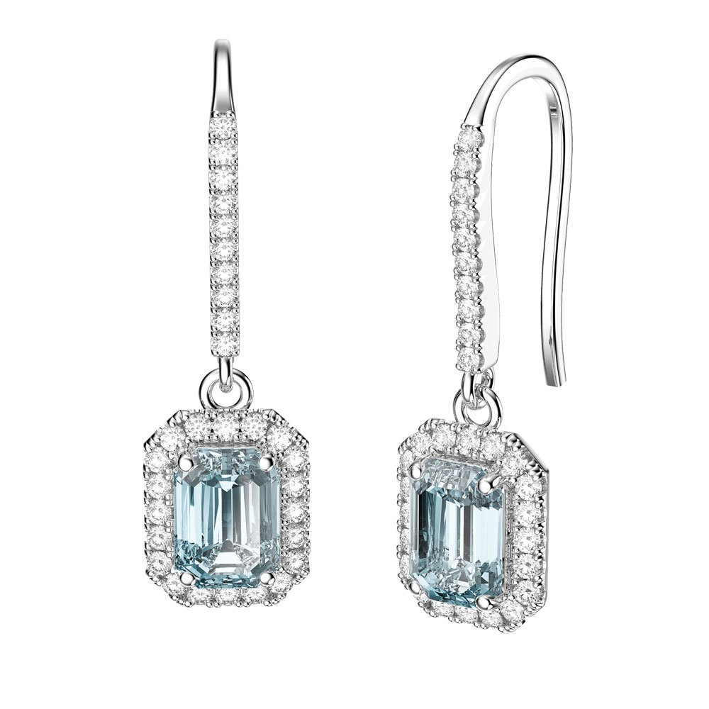 Princess Aquamarine And Diamond Emerald Cut Halo 18ct White Gold Pave Drop Earrings
