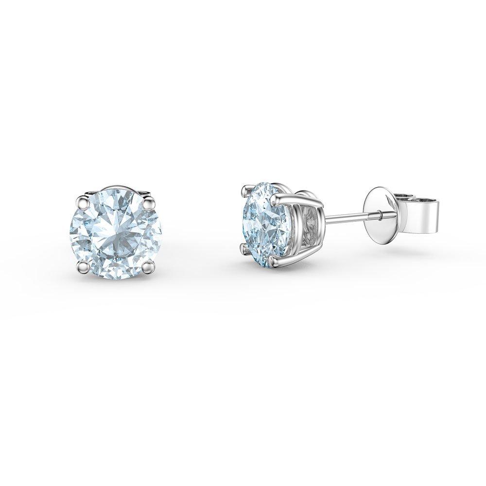 Charmisma 1ct Aquamarine Platinum Plated Silver Stud Earrings