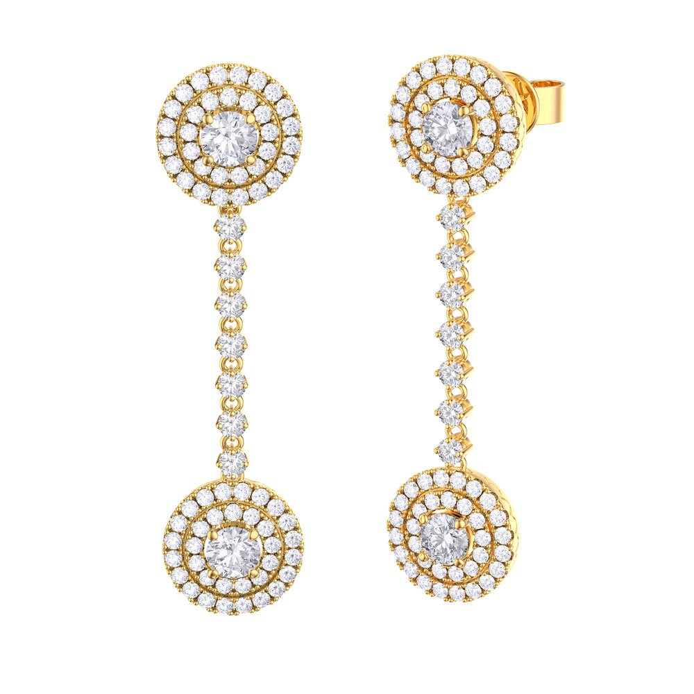 Fusion White Sapphire Halo 18K Gold Vermeil Stud and Drop Earrings Set
