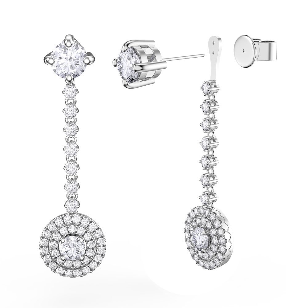 Fusion White Sapphire Halo Platinum plated Silver Stud Drop Earrings Set