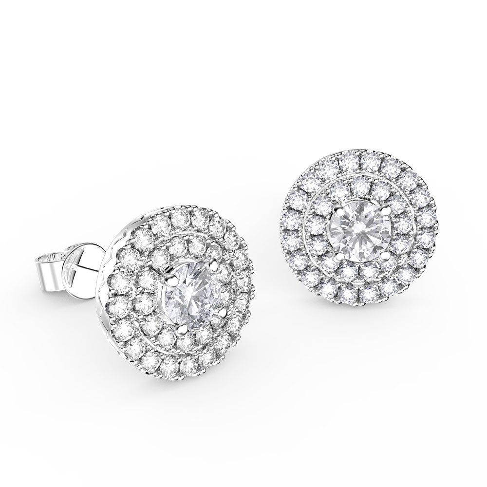 Fusion White Sapphire Halo Platinum plated Silver Stud Earrings