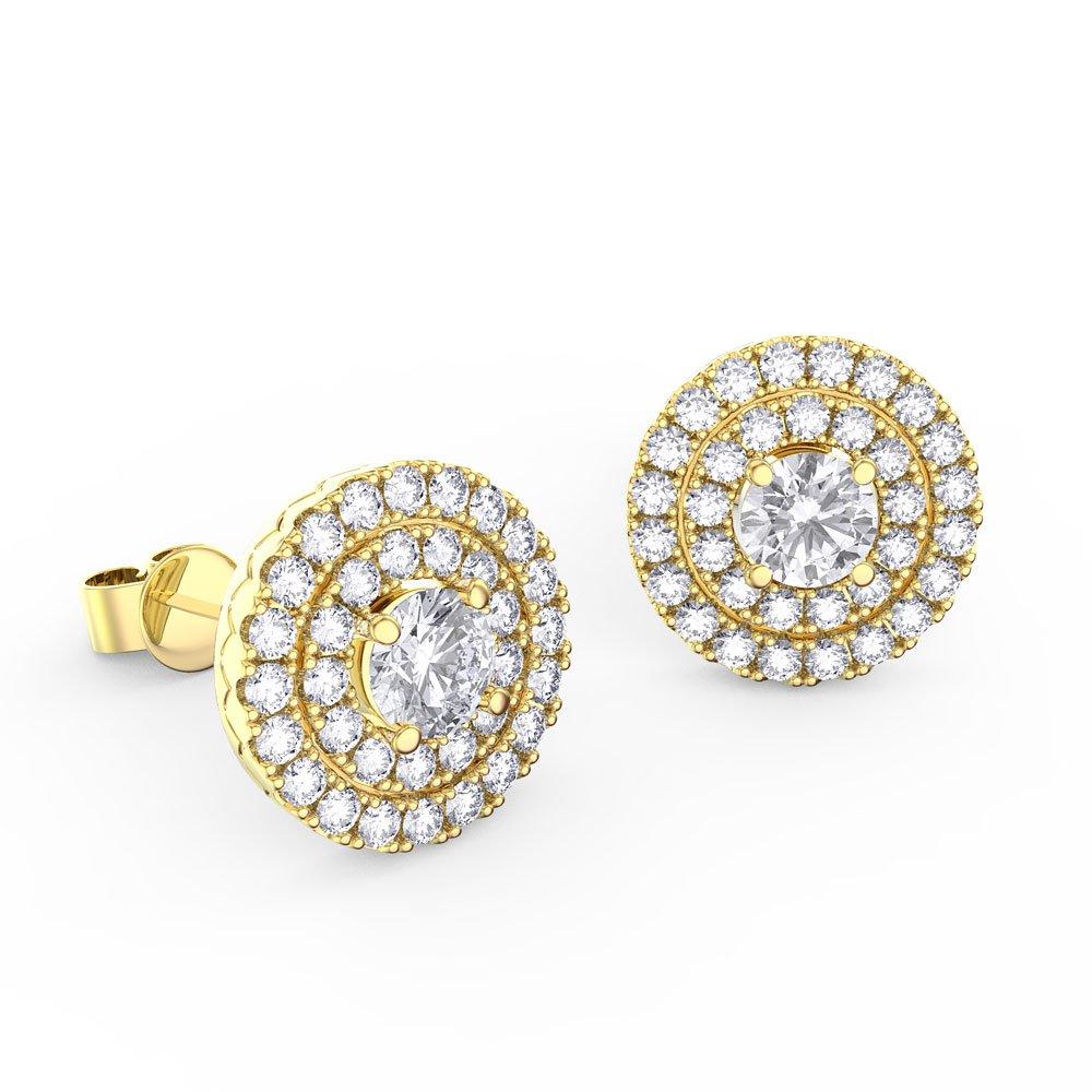Fusion Diamond Halo 18ct Yellow Gold Stud Earrings
