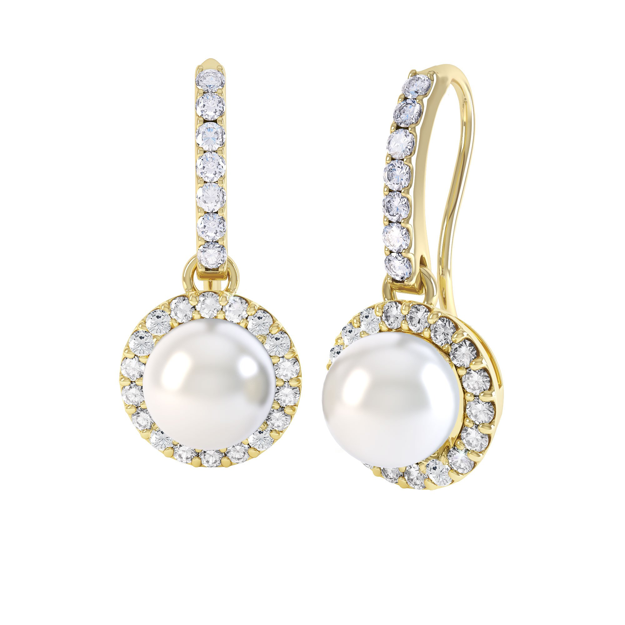 Venus Akoya Pearl And Diamond 18ct Yellow Gold Halo Pave Drop Earrings