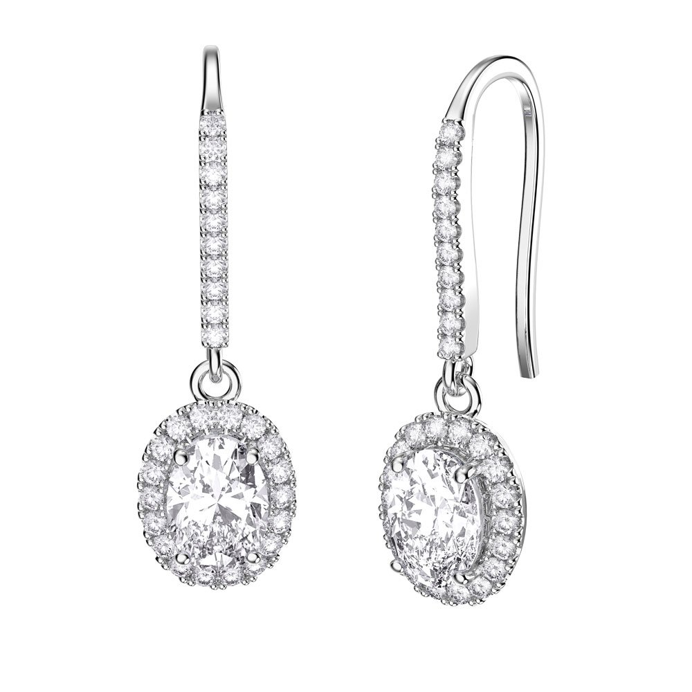 Eternity 1 5ct Diamond Oval Halo 18ct White Gold Pave Drop Earrings