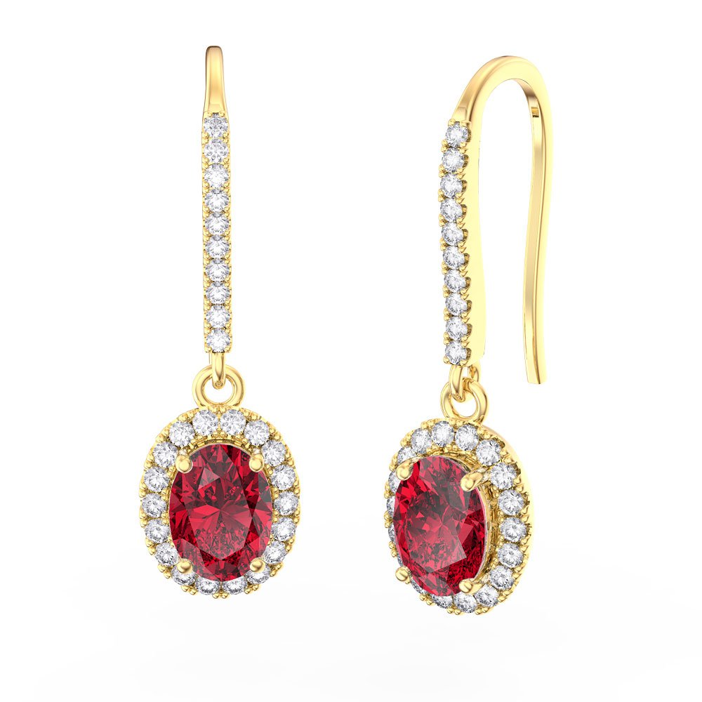 32f707e9ea74 Eternity 1.5ct Ruby Oval Halo 18ct Gold Vermeil Pave Drop Earrings ...