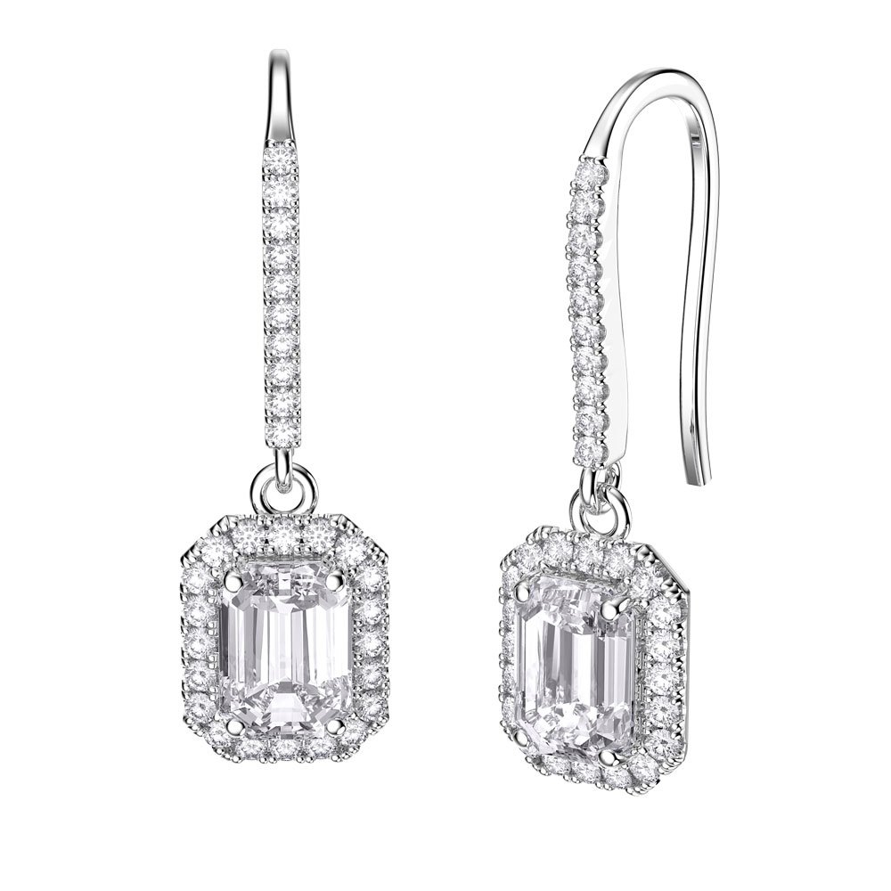Princess Diamond Emerald Cut Halo 18ct White Gold Pave Drop Earrings