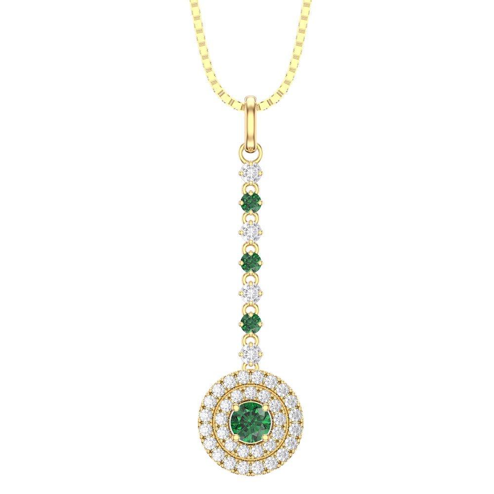 Fusion emerald halo 18ct gold vermeil drop pendantjian london fusion emerald halo 18ct gold vermeil drop pendant aloadofball Image collections