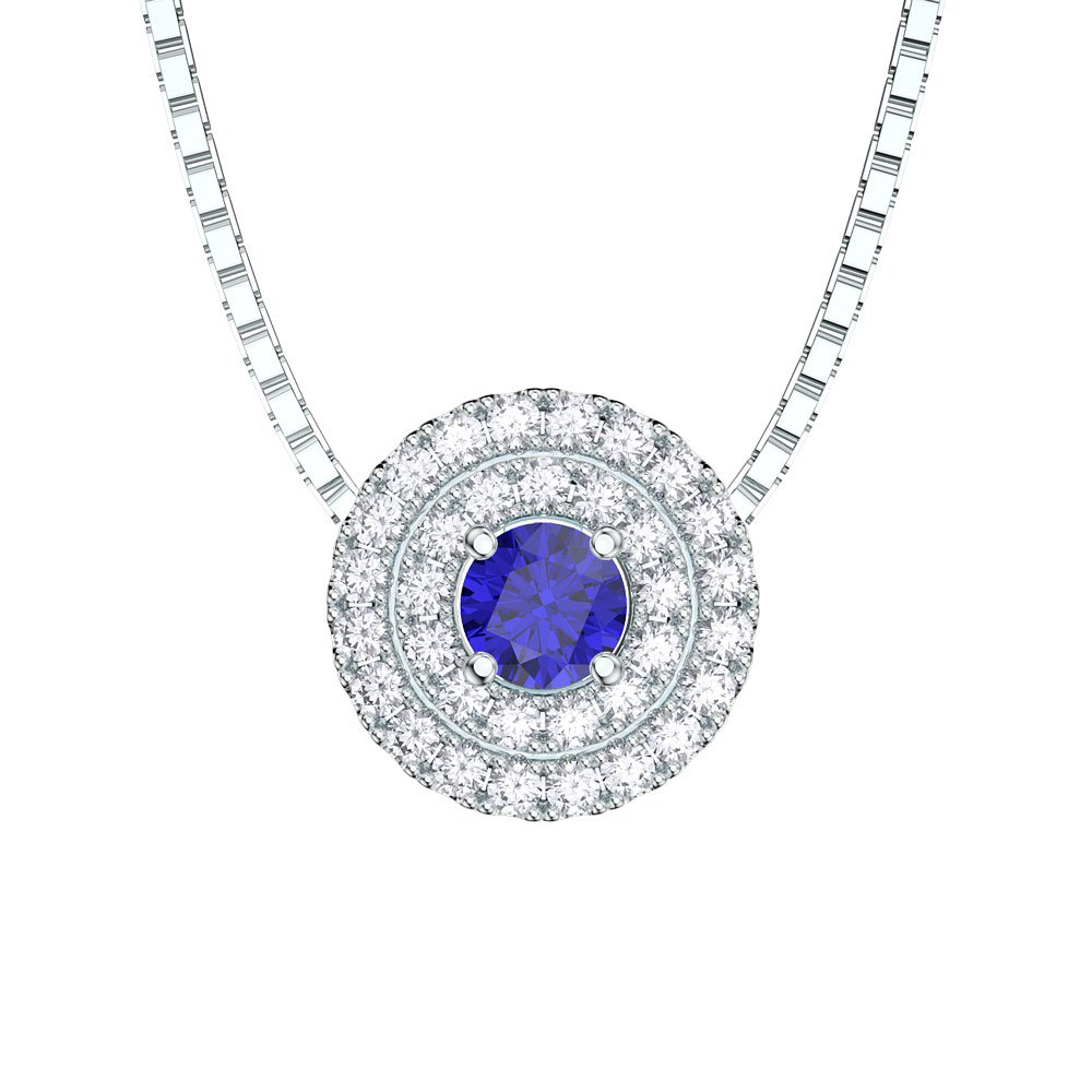 Fusion sapphire halo 18ct white gold pendantjian london18ct gold fusion sapphire halo 18ct white gold pendant aloadofball Image collections
