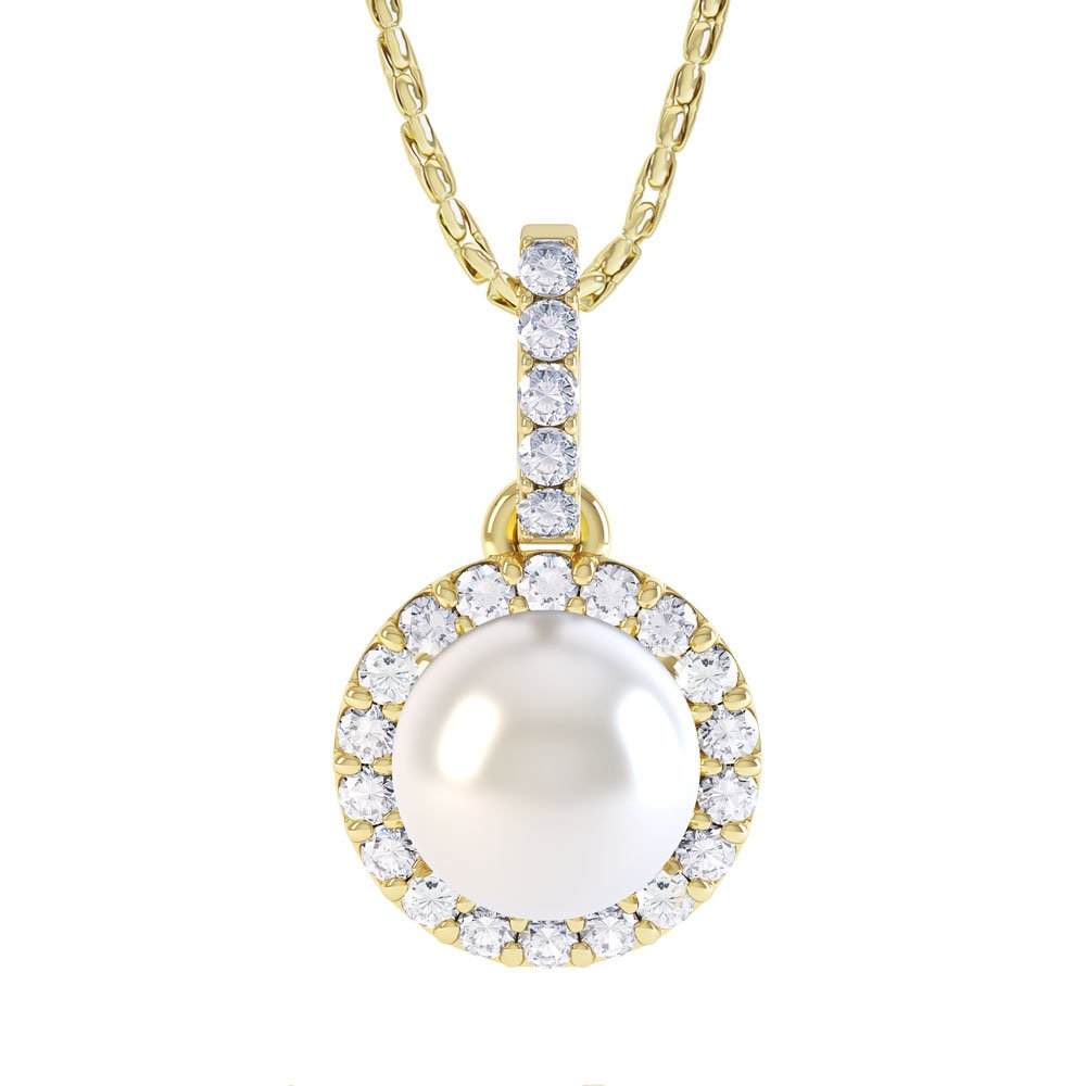 Venus Pearl Halo 18ct Yellow Gold Pendant
