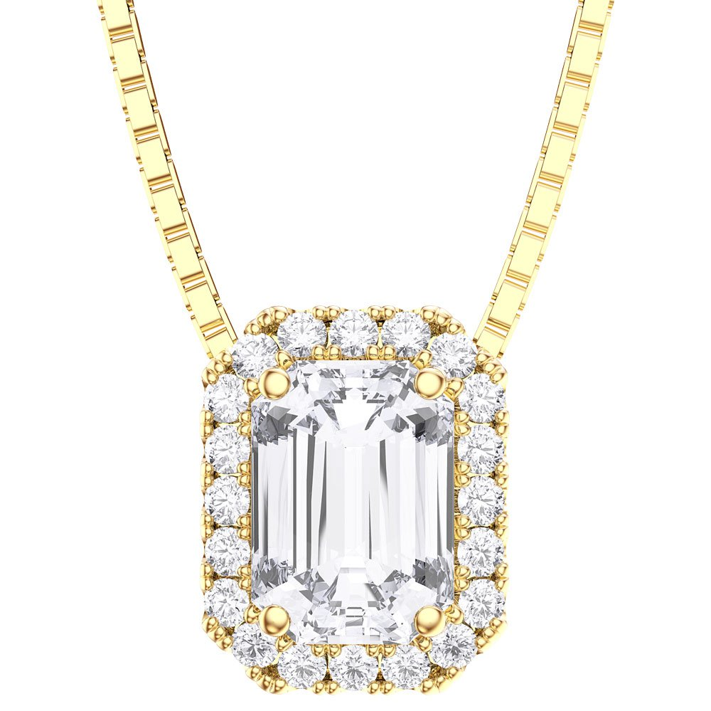 Princess 1ct White Sapphire 18ct Gold Vermeil Rectangle Pendant
