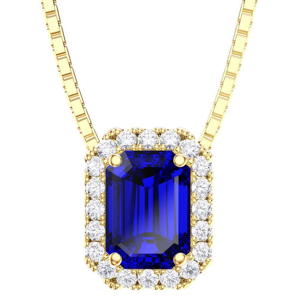 Princess 1ct Sapphire 18ct Gold Vermeil Rectangle Pendant