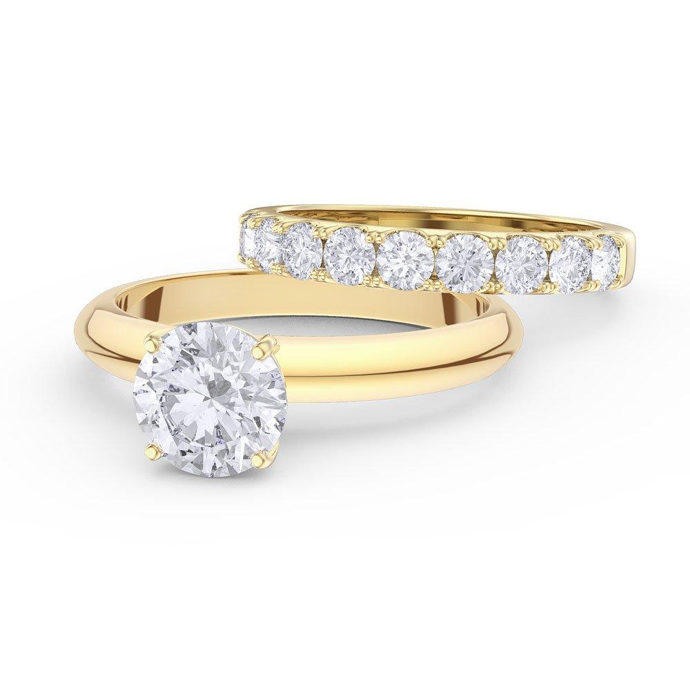 Unity 2ct White Shire 18ct Yellow Gold Half Eternity Wedding Ring Set