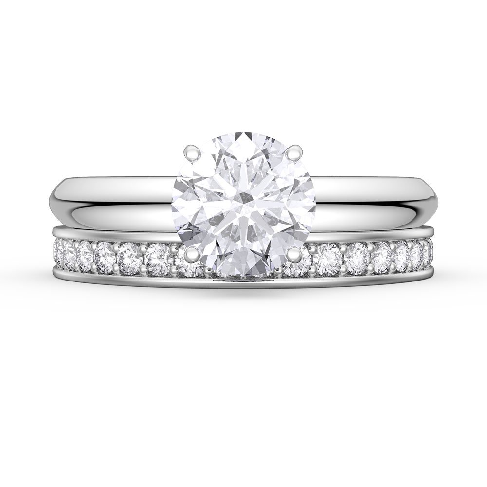Unity 1.5ct White Sapphire 18ct White Gold Engagement Wedding Ring ...