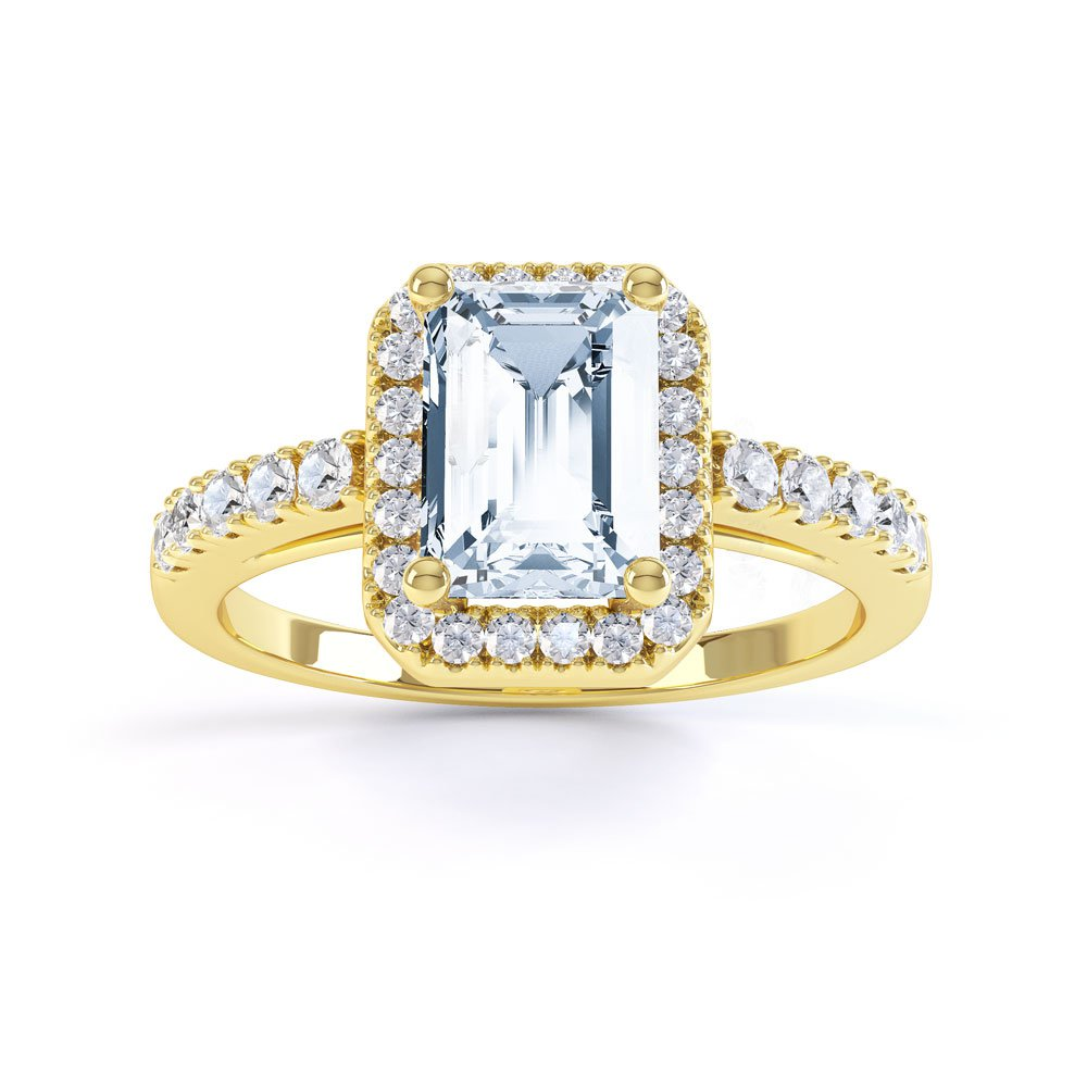 37ce5d3a8fcf3 Princess Aquamarine 18ct Yellow Gold Emerald Cut Halo Engagement Ring