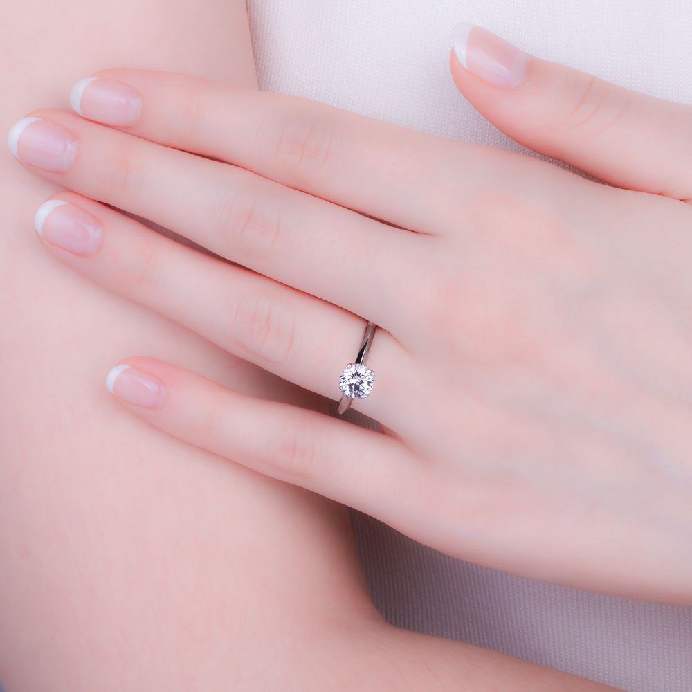 Unity 1ct White Sapphire Platinum plated Silver Promise Ring:Jian ...