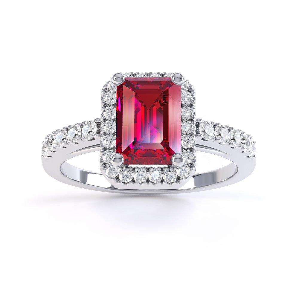 Princess Ruby And Diamond Emerald Cut Halo Platinum Engagement Ring: Princess Cut Ruby Diamond Wedding Ring At Websimilar.org