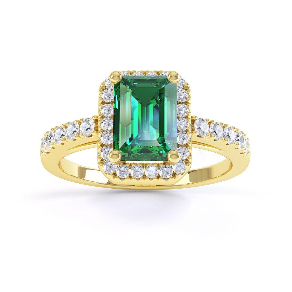 Princess Emerald Cut Emerald Diamond Halo 18k Yellow Gold Engagement Ring Jian London 18k Gold Rings