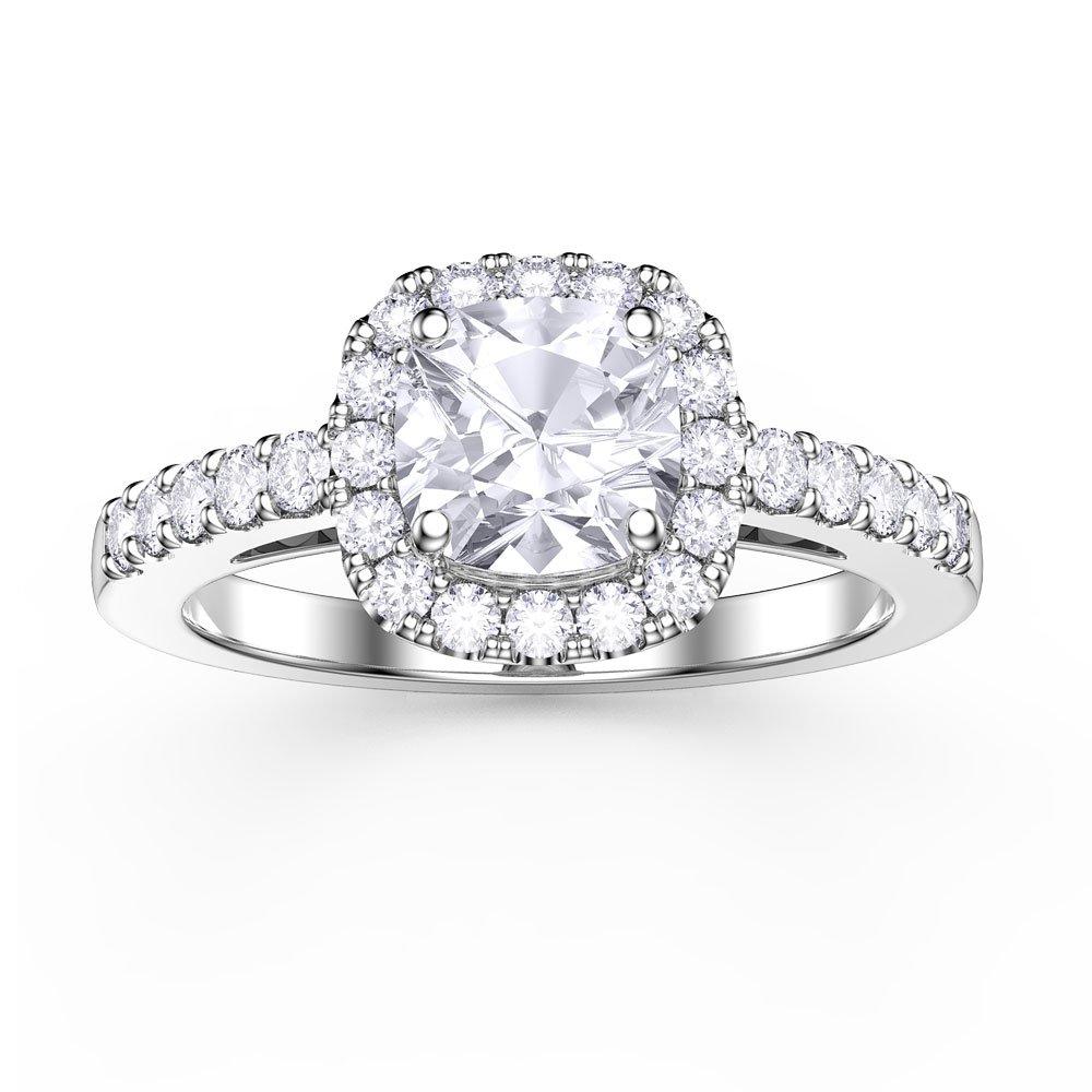 28045bc3b40 Princess White Sapphire Cushion Cut Halo 18ct White Gold Engagement Ring