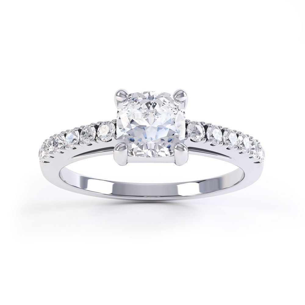 Unity White Sapphire Platinum plated Silver Cushion Cut Pave Promise Ring