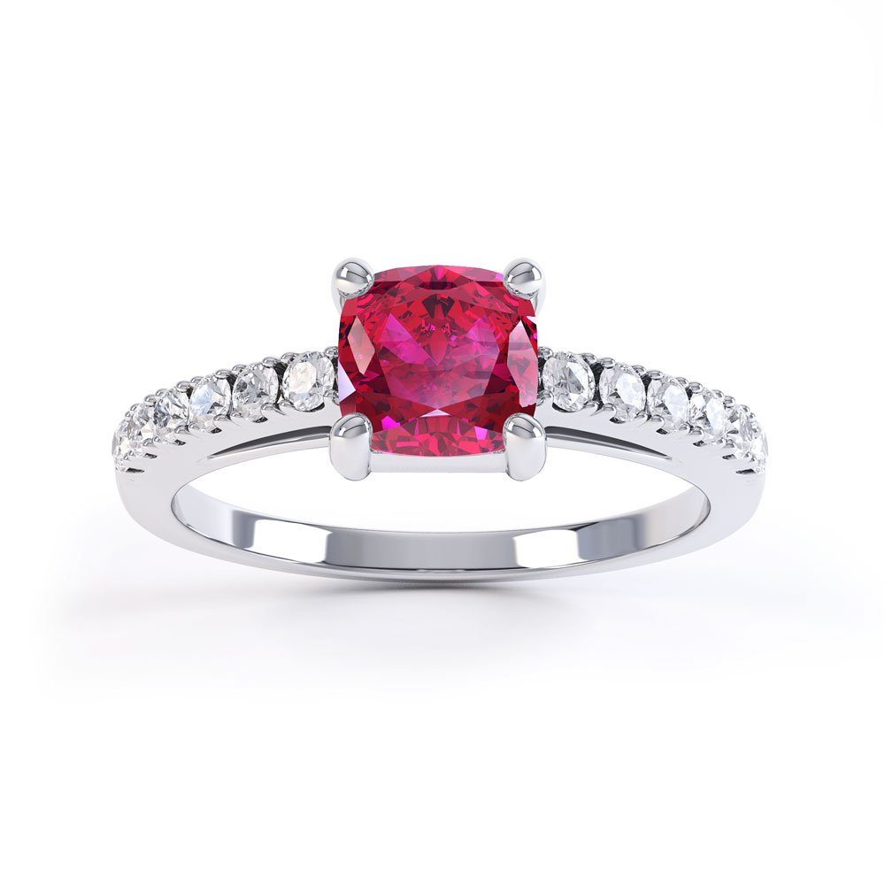 Unity Ruby Cushion Platinum plated Silver Promise Ring