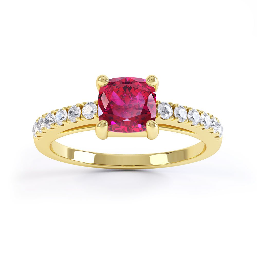 Unity Ruby Cushion Pave 18ct Gold Vermeil Promise Ring