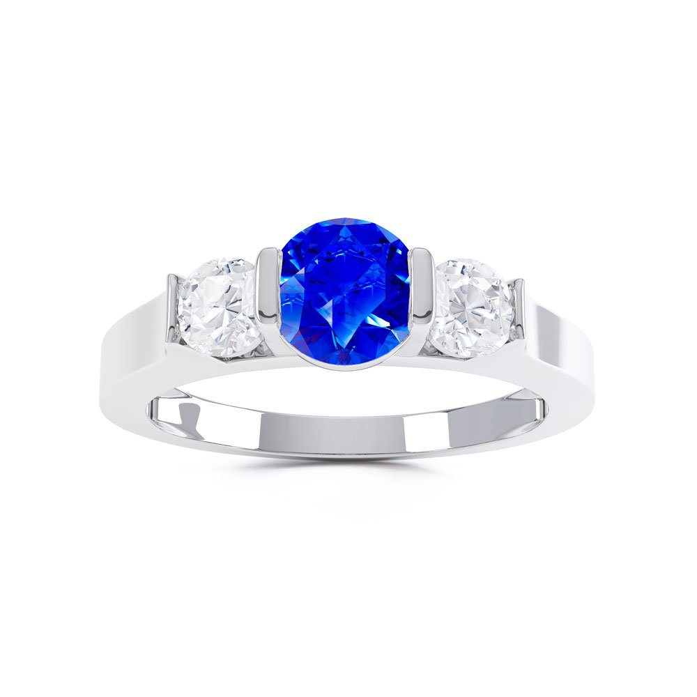 Unity Three Stone Sapphire Platinum plated Silver Promise Ring