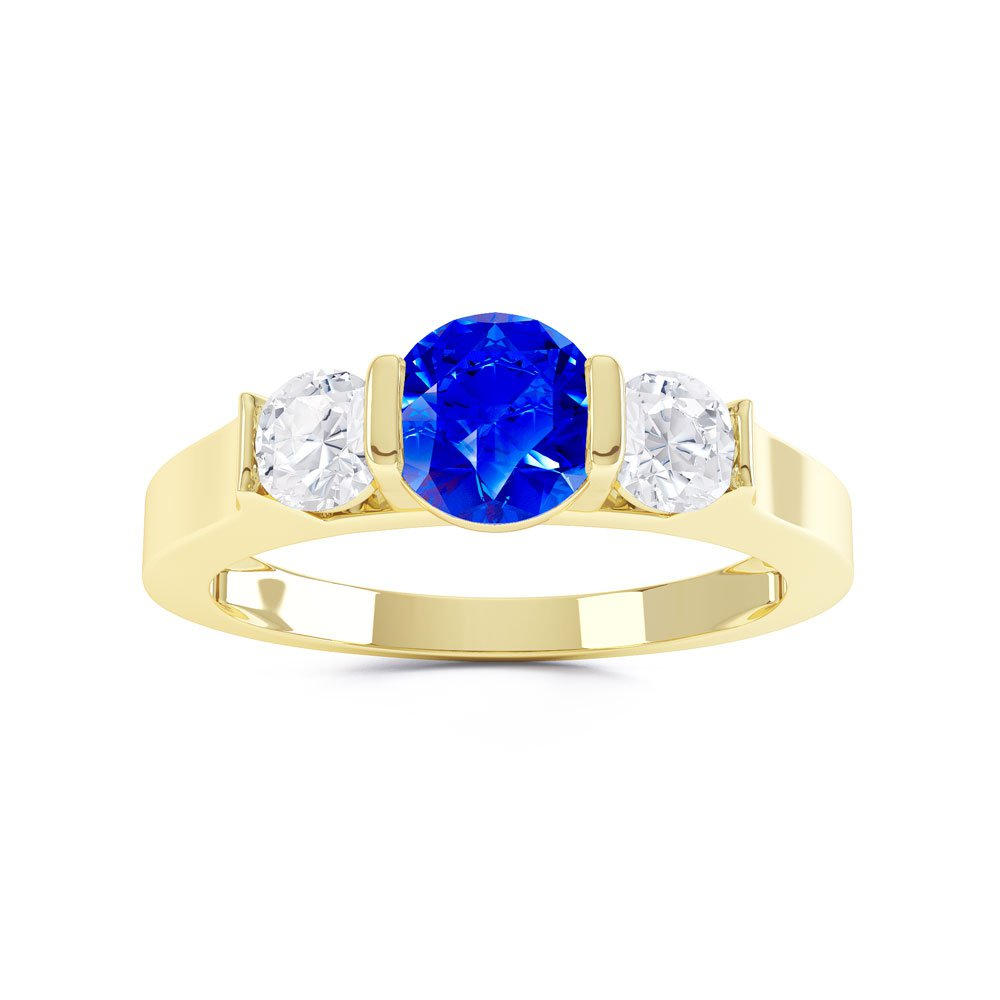 Unity Three Stone Sapphire 18ct Gold Vermeil Promise Ring