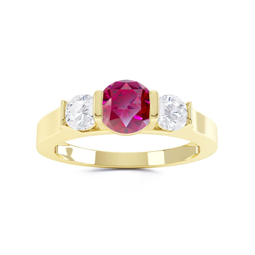Unity Three Stone Ruby 18ct Gold Vermeil Promise Ring
