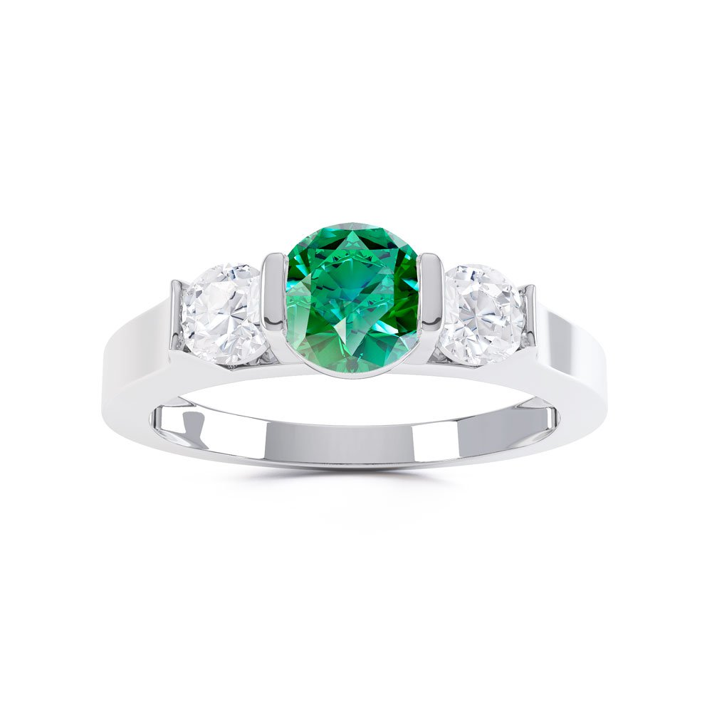 product aaa three emerald band ring wg round p vintage stone wedding style angara