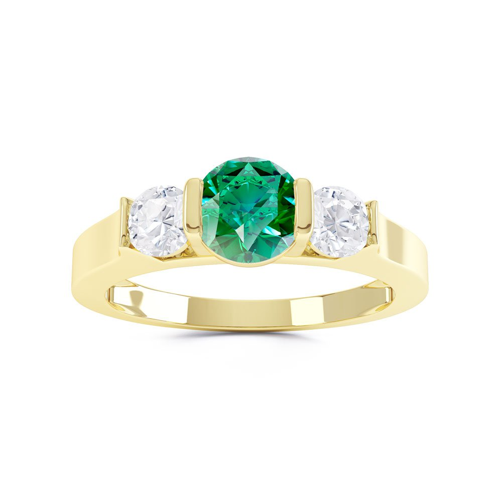 Unity Three Stone Emerald 18ct Gold Vermeil Promise Ring