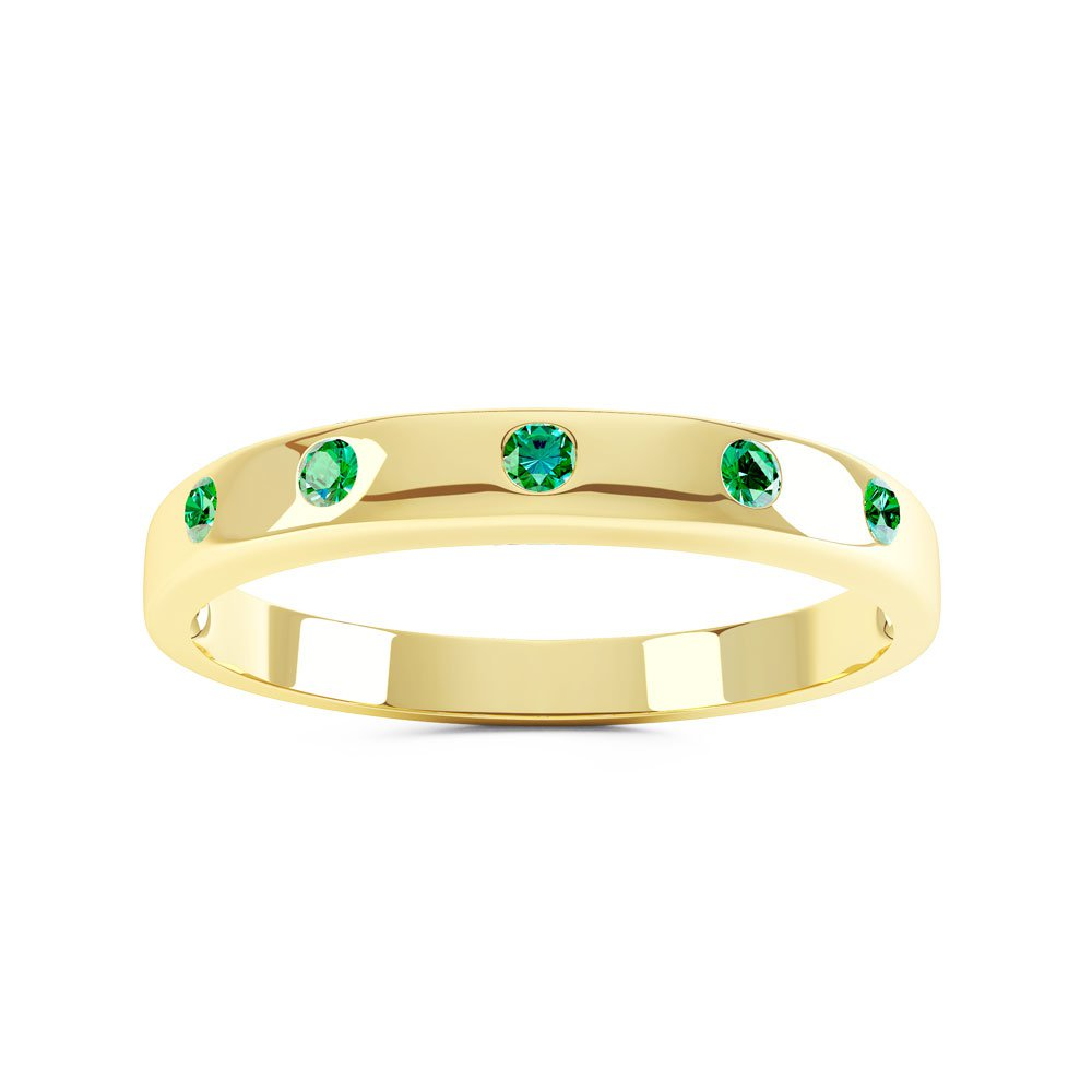 Unity Emerald 18ct Gold Vermeil Promise Ring Band