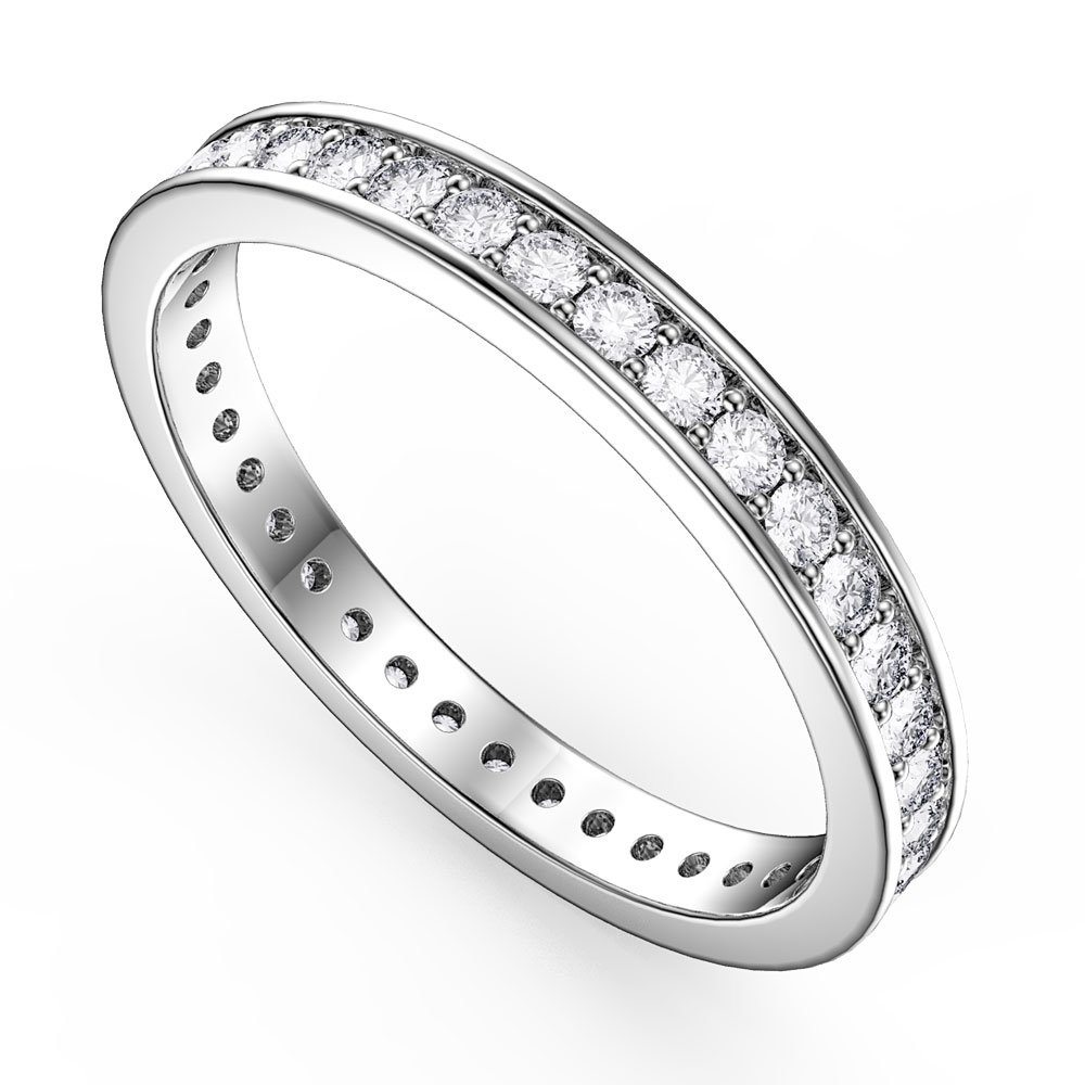 Promise White Sapphire Platinum Plated Silver Channel Full Eternity Ring Jian London Silver Rings